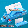 Free shipping large capacity Korean style pencil box multifunctional creative plastic folding stationery case special for boys