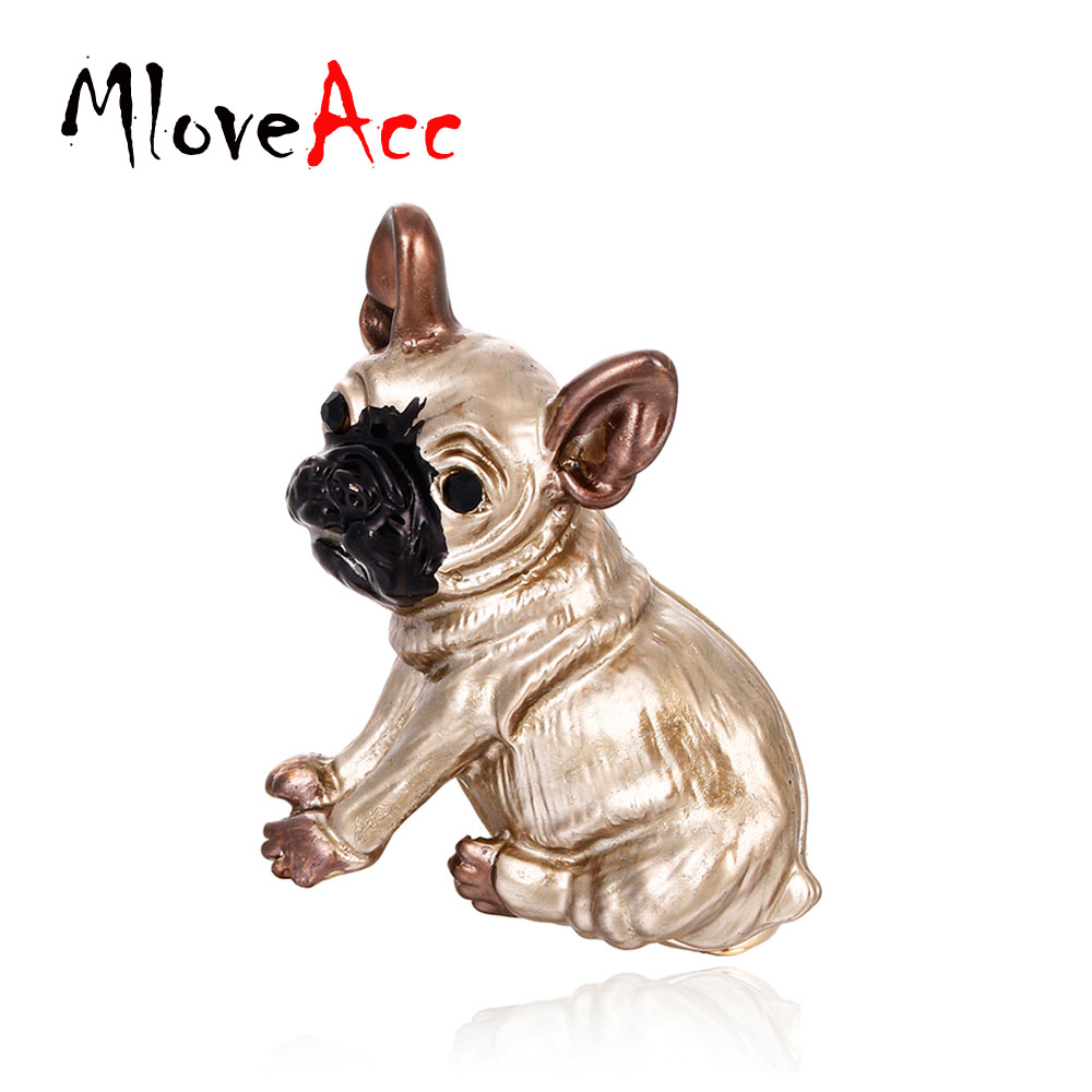 MloveAcc Cute Pug Dog Brooches Bulldog Animal Corsage Pins Kids Girls Shirt Coat Clips Brooches Clothes Accessories Jewelry