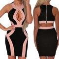 Женщины bodycon лето sexy women club платье открыть бюст платье o-образным вырезом без рукавов бинты midi платье для женщин 4705