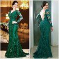 Verde/Azul Marinho Sereia Vestido 2017 Double V Mãe do Vestido Da Noiva Mangas Compridas Nobre Renda Mãe Da Noiva vestidos de 6171600