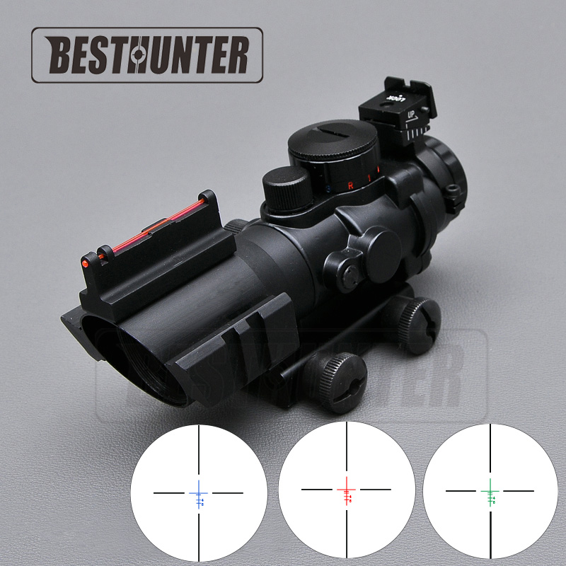 Tactical 4X32 Air Rifle Scope Red Green And Blue W Tri Illuminated Reticle Fiber Optics Sight