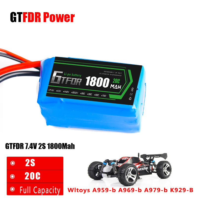 GTFDR 1PCS Li-Polymer 2S Lipo Battery 7.4V 1800mah 20C Max 40C for Wltoys A959-b A969-b A979-b K929-B RC Car Boat Quadcopter FPV