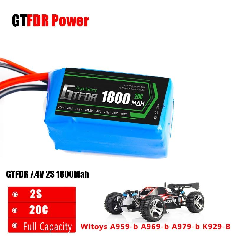 GTFDR 1PCS Li-Polymer 2S Lipo Battery 7.4V 1800mah 20C Max 40C for Wltoys A959-b A969-b A979-b K929-B RC Car Boat Quadcopter FPV