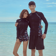 цены Rhyme Lady Front Zipper rashguard print Plus size Surfing Suit Long Sleeves Lovers Two/Three Pieces Sun Protection swimming suit