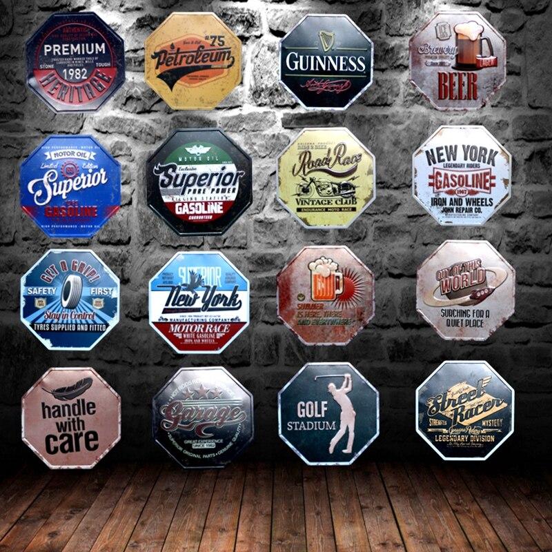 Sinais de estanho irregular do vintage placa metal parede café garagem pub casa restaurante arte decoração 30 cm U-4