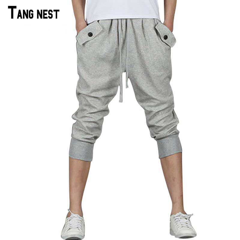 TANGNEST Men Shorts 2017 New Arrival Male Casual Loose Knee Shorts Men s Solid Summer Breathable