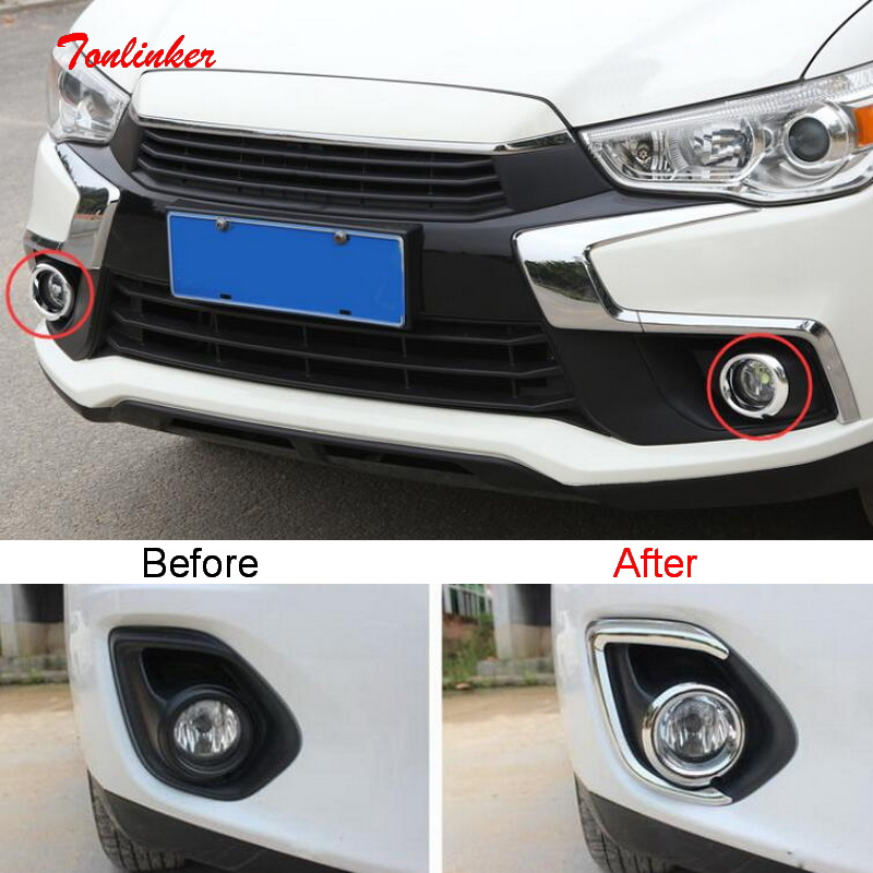 Tonlinker Exterior Front/Rear FogLight Cover stickers for Mitsubishi ASX 2013-19 Car Styling 2 PCS ABS Chrome Cover Stickers
