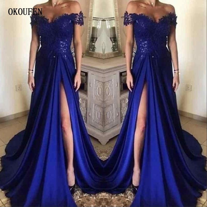 Royal Blue   Prom     Dresses   2019 High Split Off Shoulder Saudi Arabia Evening Party Gowns vestidos de fiesta robe de soiree jurken