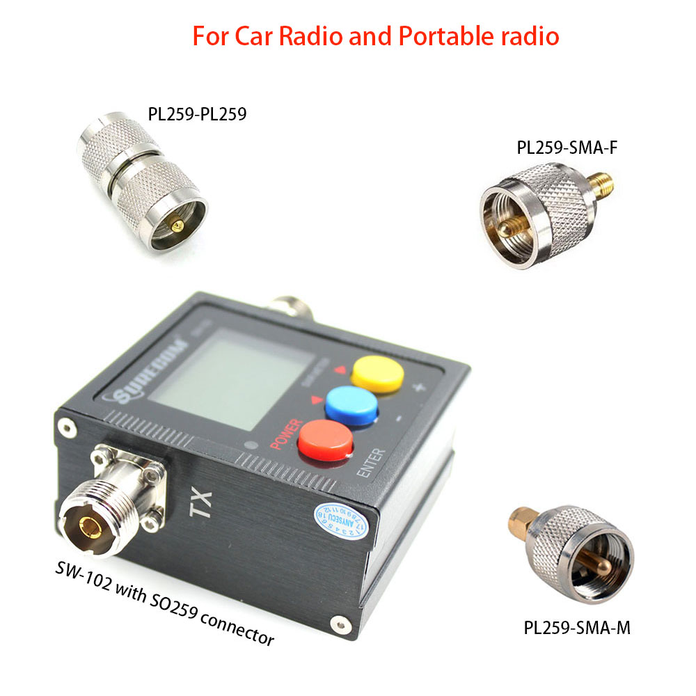 SW-102 VSWR 1.00-19.9 Digital VHF//UHF 125-525MHz Power /&SWR Meter for Radios