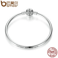 BAMOER Authentic 100 925 Sterling Silver Engrave Snowflake Clasp Snake Chain Bracelet Bangle Clear CZ DIY