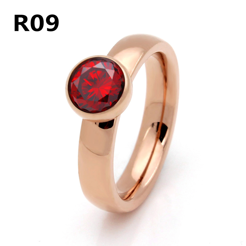 2017 Top Quality Jewelry Stainless Steel Plated Rose Gold Big Crystal Ring For Wedding Promotion Cant Move R009