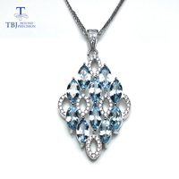 TBJ ,2018 luxury 925 silver pendant necklace natural 4.25ct good color aquamarine for women wife anniversary gift daily wear