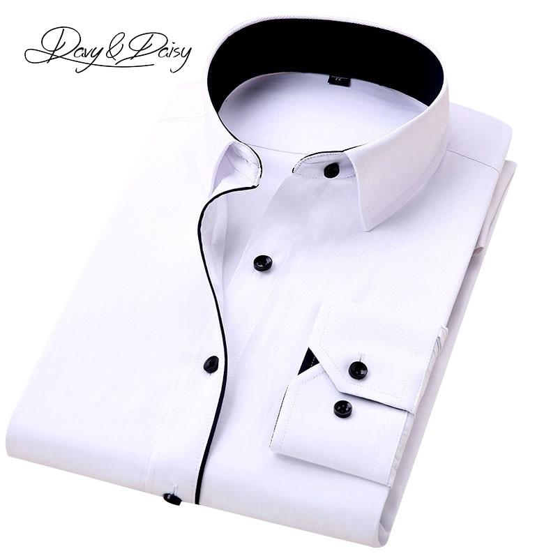15a885eac59be DAVYDAISY High Quality Men Shirt Long Sleeve Twill Solid Formal Business  Shirt Brand Man Dress Shirts DS085