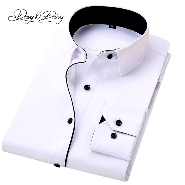 DAVYDAISY High Quality Men Shirt Long Sleeve Twill Solid Formal Business Shirt Brand Man Dress Shirts DS085
