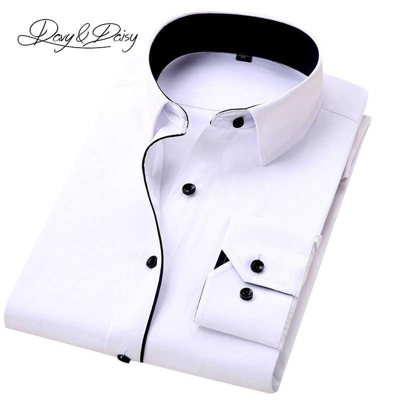 Davydaisyホット販売高品質の男性のシャツ長袖ツイル固体因果正式なビジネスシャツブランドの男のドレスシャツDS085