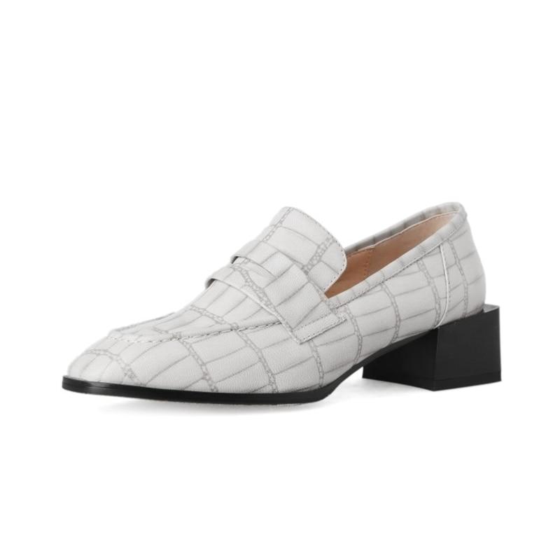 Talons black almond 4 Hauts Femmes Véritable Chaussures Pompes 2019 Bout Carrés Beige Printemps Cuir Cm En Carré EIDW9Y2H