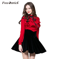 Free Ostrich 2018 New Fashion OL Turtleneck Solid Color Ruffles Bow Designer Long Sleeve Women S
