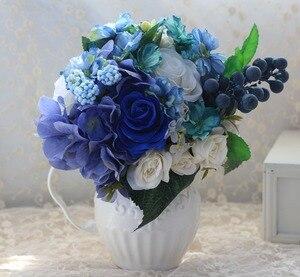 Image 5 - Buquê artificial de casamento, noiva azul, acessórios de noiva, flores de seda bonitas para noiva, 1 peça, frete grátis