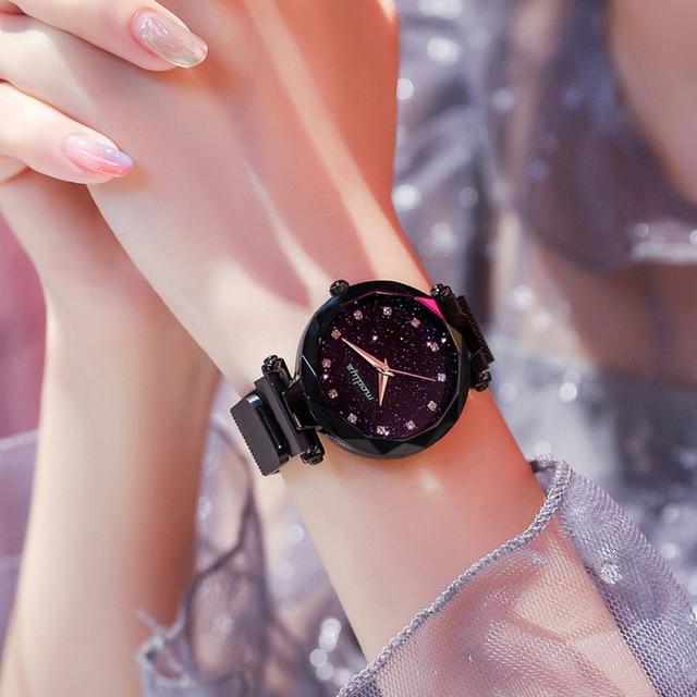 Luxury Diamond Rose Gold Women Watches Fashion Ladies Starry Sky Magnetic Watch Casual Mesh Steel Rhinestone Female Wristwatch 5