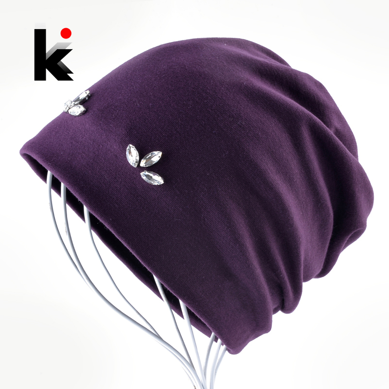 Fashion Skullies Beanies Women Solid Color Hats For Ladies Rhinestone Clover Bonnet Spring Autumn Casual Cap Female Touca Gorras