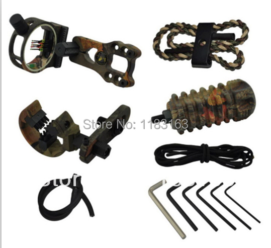 Free shipping Camo color compound bow kit 5 pin bow sight arrow rest stabilizer sling peep sight allen key 7 in 1 1set/pack