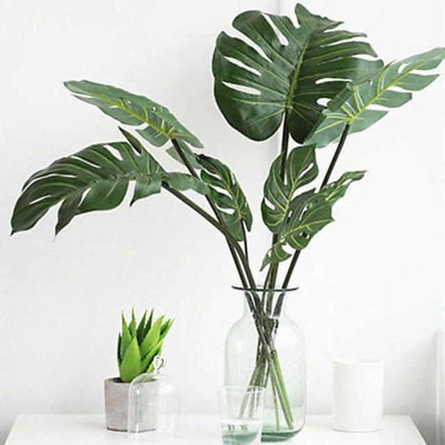 1Pc Artificial Monstera Cuban Royal Palm Leaf Fake Tree Plant Home Office Decor Drop Shipping