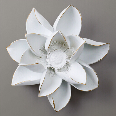 European 3D Resin Wall Stickers Resin Lotus Flowers Sticker creative Living room TV backdrop Resin Hanging Wall decoration