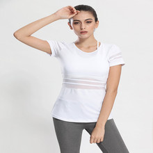 women mesh t-shirt Sports and fitness jogging slim T-shirt running short sleeve shirts quick-drying yoga tops
