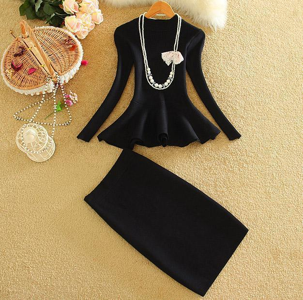 Autumn Women Fashion 2pcs Skirt Suits Ruffle Hem Slim Knitting Blouses Tops + Step SKirt Sets Women 2pcs Set
