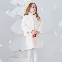 2018 зимняя одежда для малышей, милый шерстяной костюм из 2 предметов с искусственным мехом макарона, одежда для детей 2, 3, 4, 5, 6, 7, 8 т