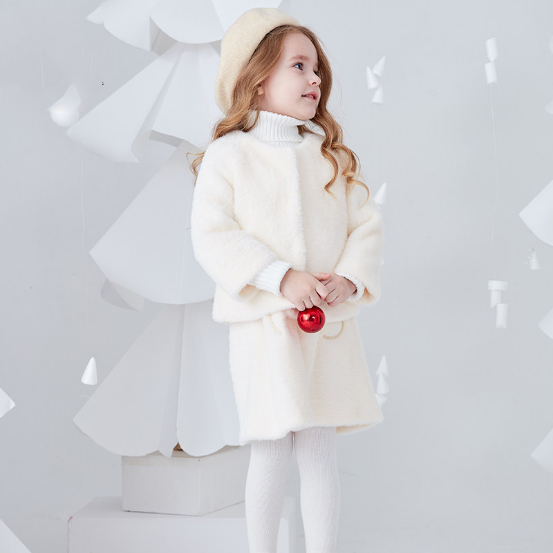 2018 Winter Baby Toddlers Cute Outfit Wool Faux Fur Macaron Color Kids Children 2pcs Clothes for Age 2 3 4 5 6 7 8T Years Old