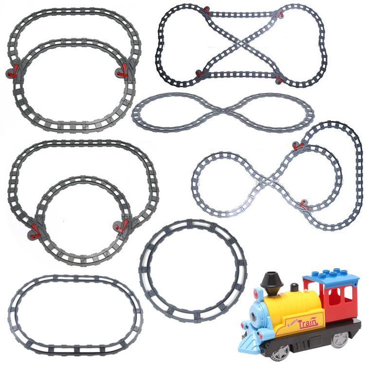 Assemble Accessories Train Circular orbit sets Big Building Blocks Parts Compatible with Duplo DIY Bricks Classic path Baby Toys new big size 40 40cm blocks diy baseplate 50 50 dots diy small bricks building blocks base plate green grey blue