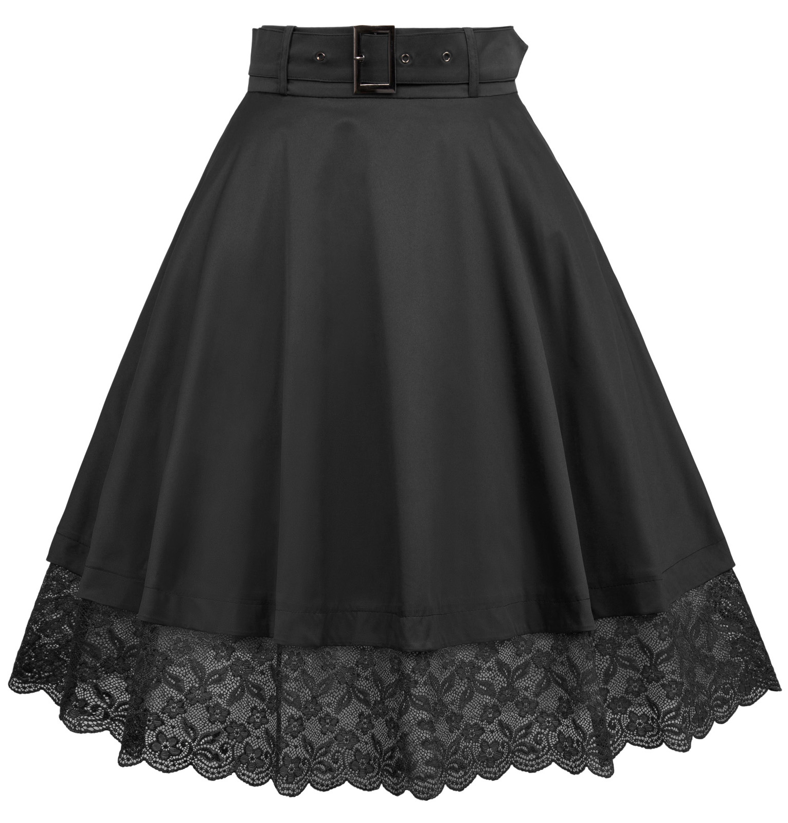 hot 2018 summer skirt women Vintage High Waist Lace Hem Skater Flared A-line Skirts Swing skirt With Belt