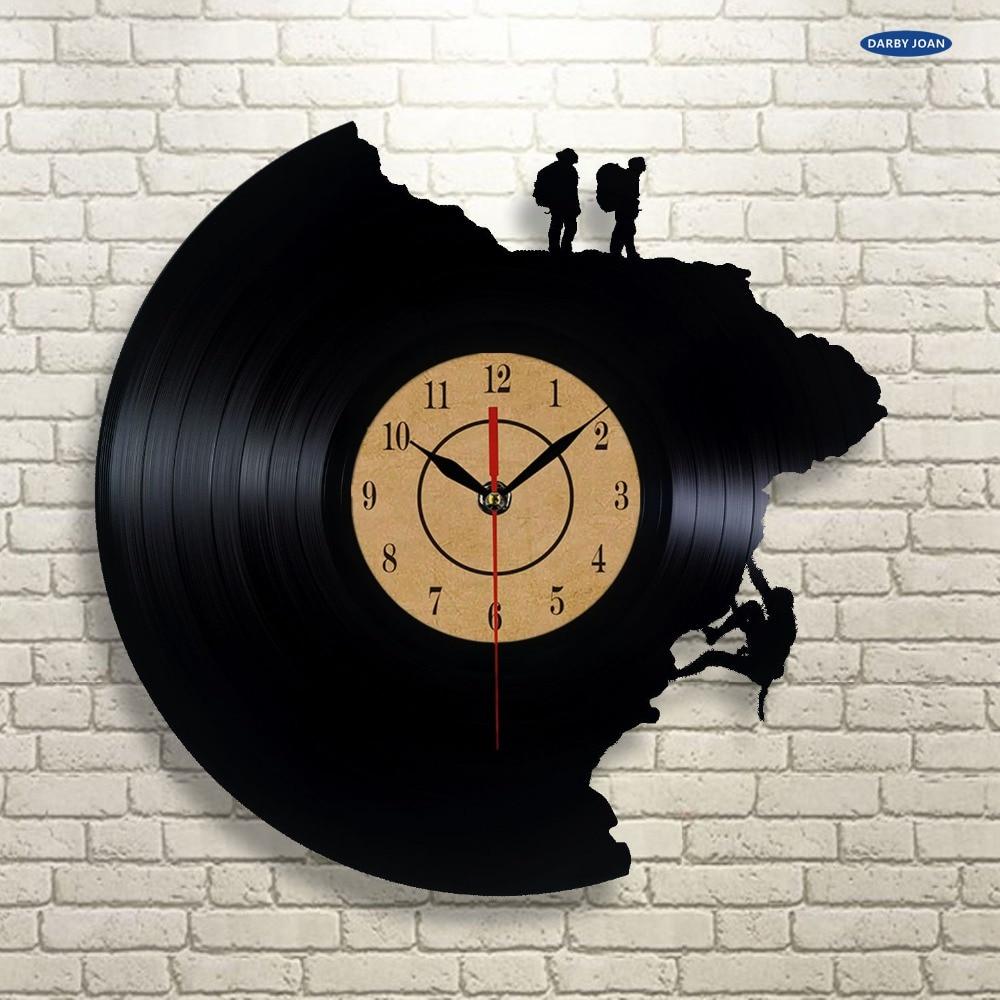 Large Decorative Wall Clocks Vinyl Disc Clock Climbing ...