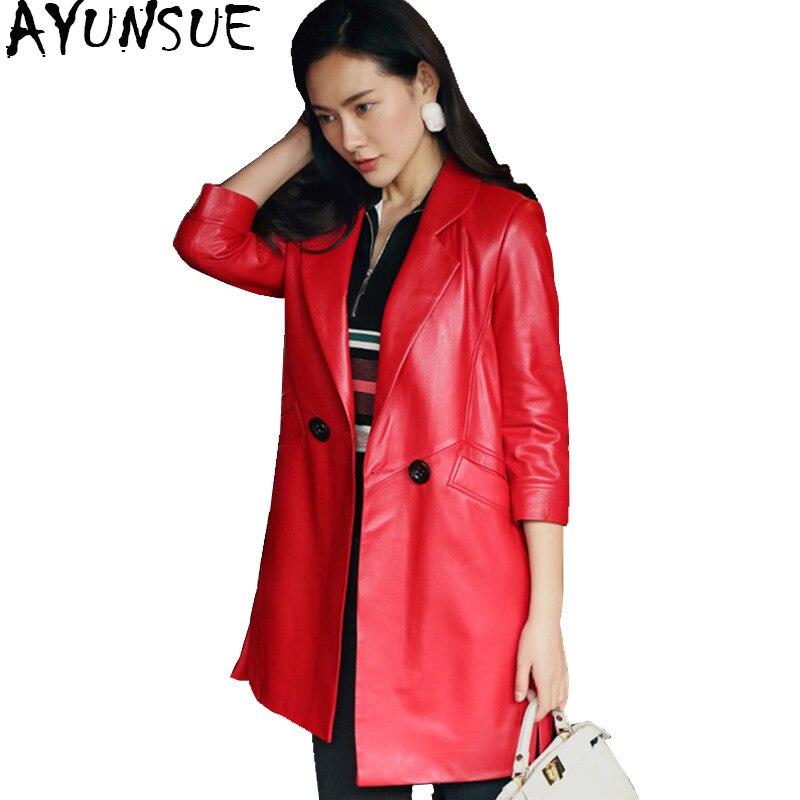 AYUNSUE 2019 Genuine Leather Jacket Women Spring Autumn Jackets Long Slim 100% Real Sheepskin Coat Female Plus Size 4XL 22100