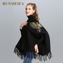 RUNMEIFA 2018 Ladies Luxury Gold Eagle With Tassel Sweater Women Cashmere Stole Shawl