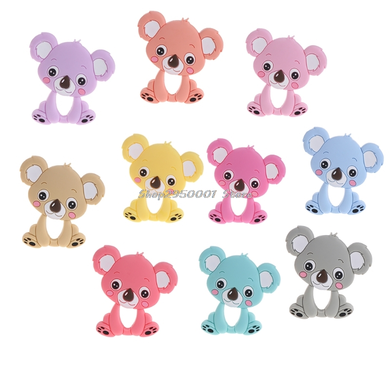 2017 Bear Baby Teethers Silicone Teething Toys Chew Charms Infants Bpa Free Diy Necklace Pendant