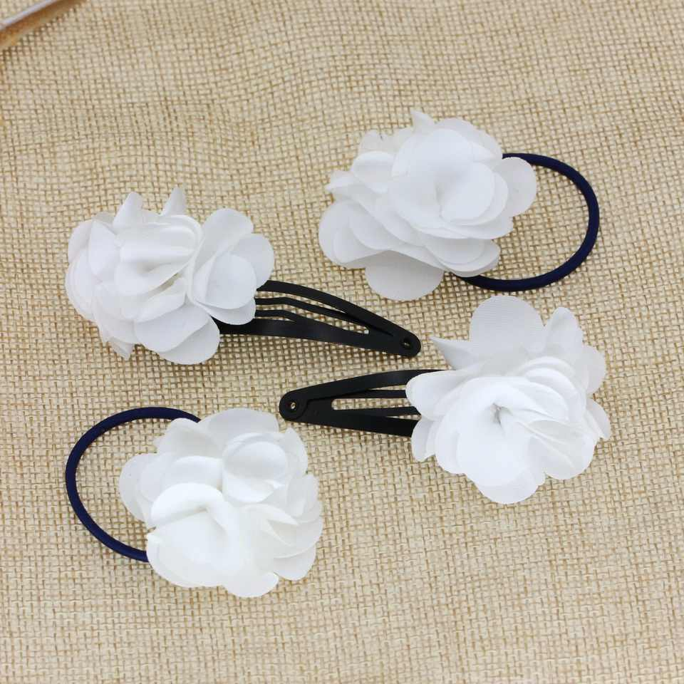 isnice Flower Hairgrips White Hair Bands  Popular Gum For hair Children hair accessories Rose hair Clips set