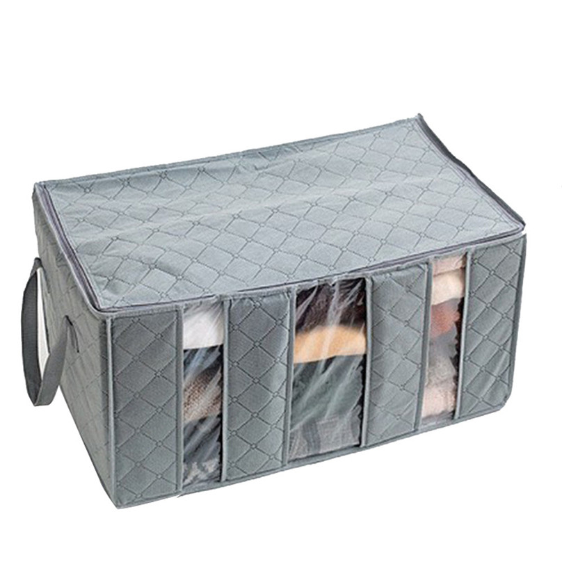 Hot sale 65L Large Charcoal Clothes Sweaters Blankets Closet Organizer Storage Bag Box Storage Bags Organizer #3j17 (2)