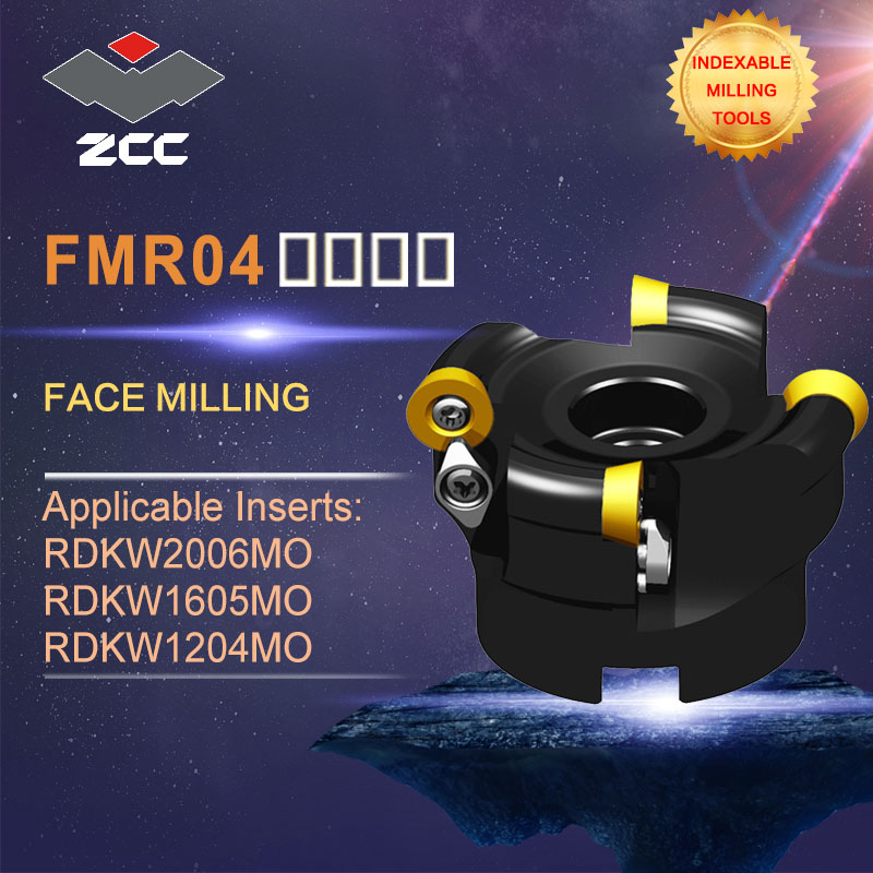 ZCC.CT original face milling cutters FMR04 high performance CNC lathe tools indexable milling tools face milling tools popular cnc lathe machining center indexable square shoulder milling tools holder with high precision pe05 17b32 100 08
