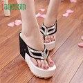 Mulheres de alta qualidade Strass Moda Verão Aleta Plana Chinelos Sandálias Boemia Sapatos Mocassins 170221