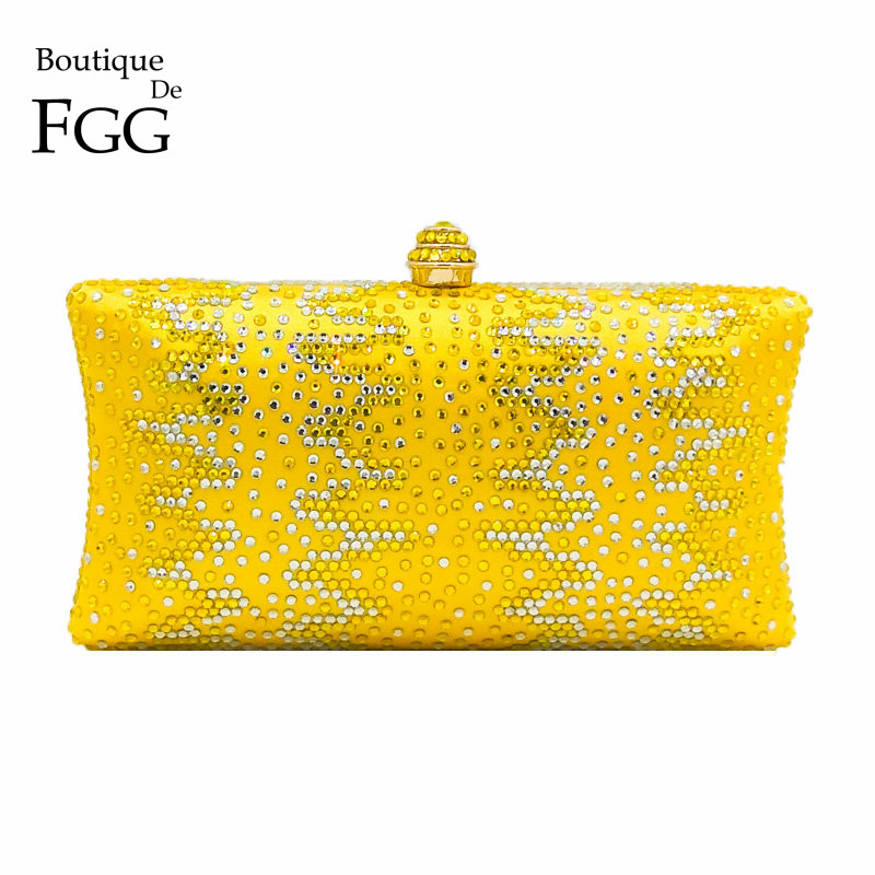 Boutique De FGG Yellow Diamond Women Clutch Bags Wedding Minaudiere Handbags Crystal Evening Bag Bridal Party Dinner Purses