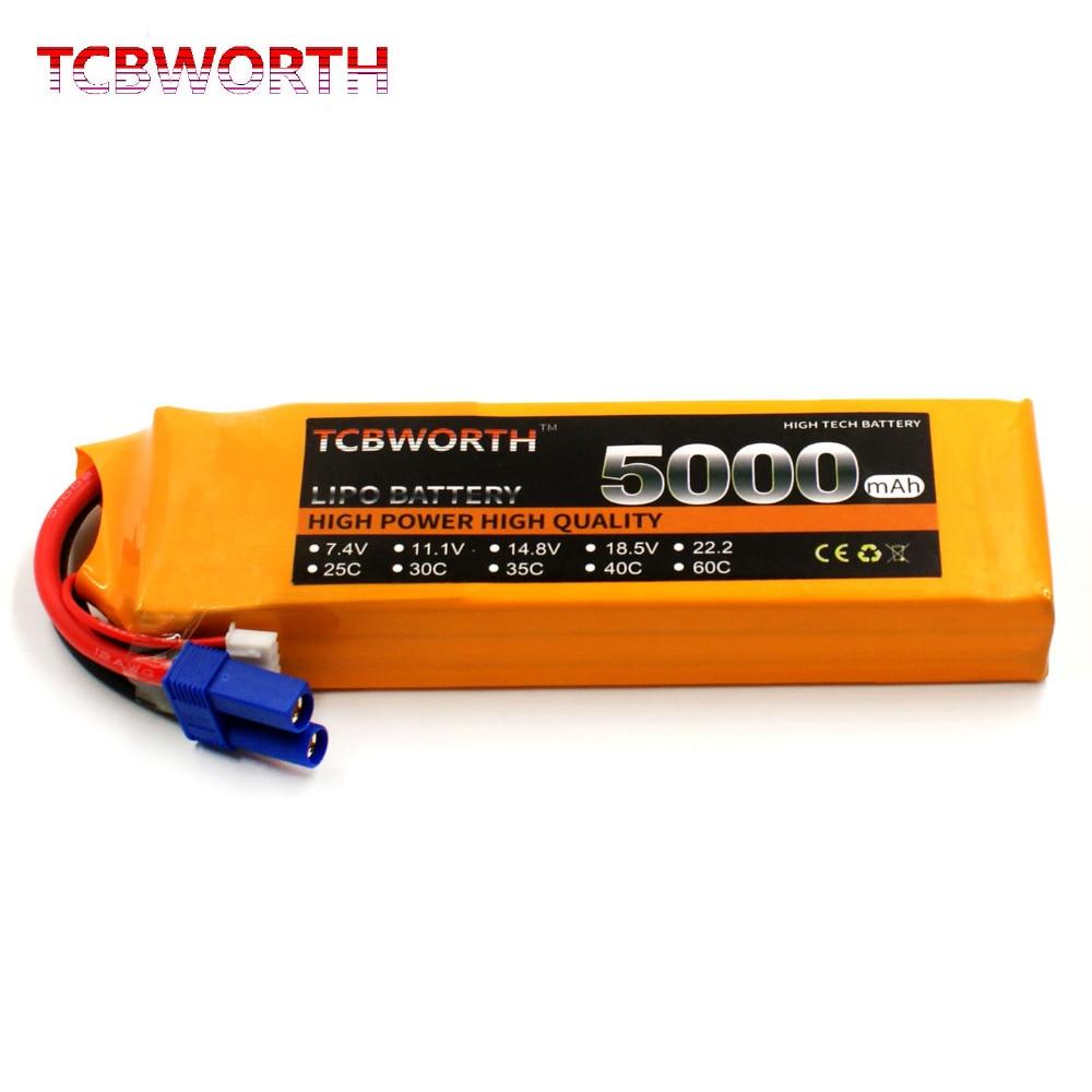 TCBWORTH 2 S 7.4 V 5000 mAh 25C RC LiPo batterie Pour RC Avion Quadrirotor Drone Télécommande Modèle Batteries liPo AKKU