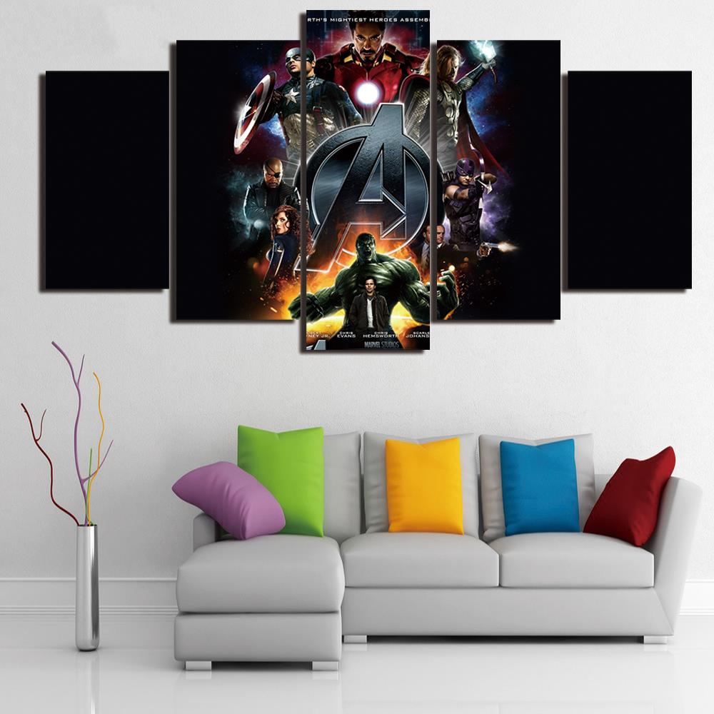 5 Pieces Comic Hulk Marvel Movie Wall Art Canvas Pictures For Living Room  Bedroom Home Decor Printed Canvas Paintings  In Painting U0026 Calligraphy From  Home ...