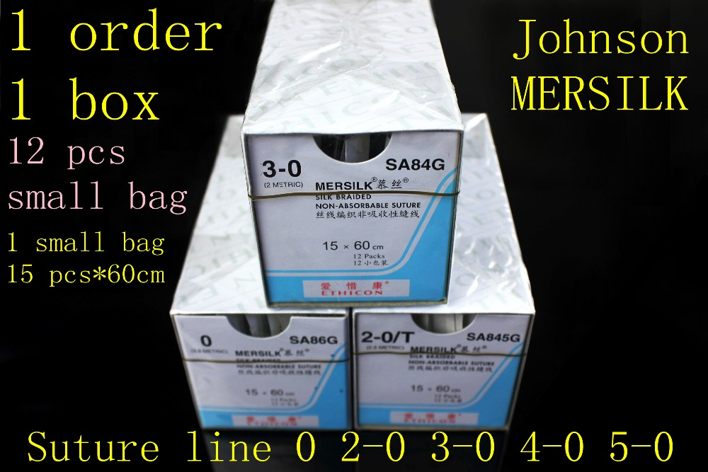 Medical Suture Line Johnson Ethicon MERSILK Line Surgical Non Absorbable Suture Line Sterile Real Silk Braid Line Instrument