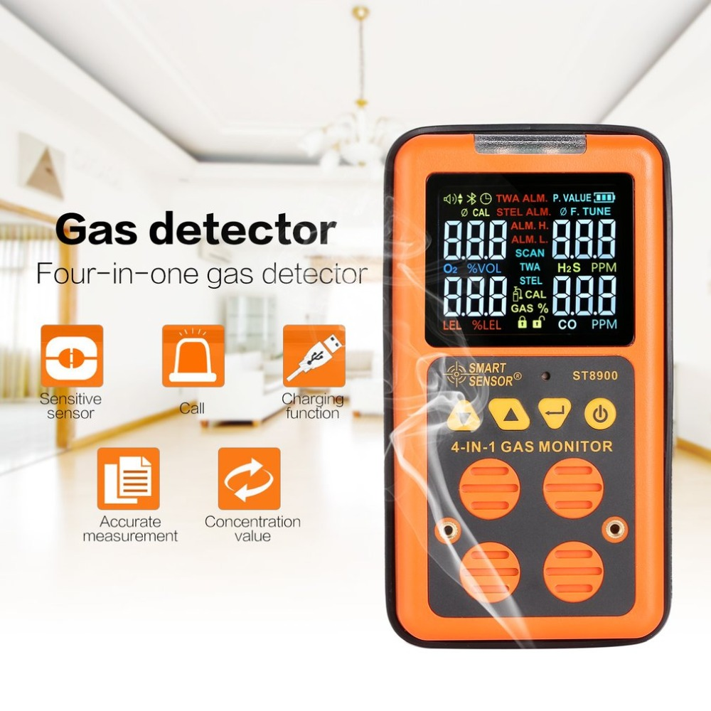 4 in 1 Digital Gas Detector O2 H2S CO LEL Handheld Mini Gas Analyzer Air Monitor Gas Leak Tester Carbon Monoxide Meter ST8900 bh 4s 4 in 1air quality monitor gas analyzer air tester portable compound gas detector o2 ex co air quality monitor