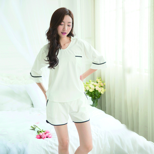 Short Sleeved Shorts Pajamas Set Women 39 S Sweet Simple Casual Korean Style Pajamas Suits Home