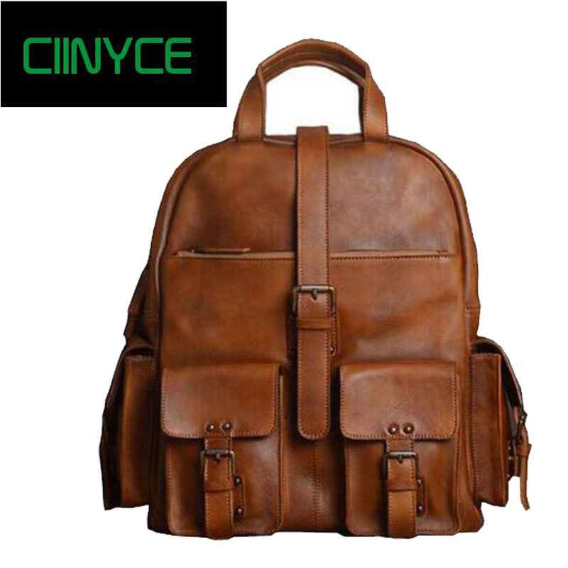 Brand Guarantee Genuine Cow Leather Men's Fashion Large Capacity Travel  Fits for 15 inches Laptop Shoulder Bag School Backpack 100% genuine leather backpack large capacity cow leather travel bags high quality business bag for man women vintage laptop bag