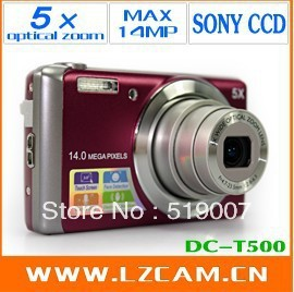 Free Shiping, good cheap camera 14MP CCD 5x optical zoom 5X digital zoom Anti-shake, Face detection DC-T500