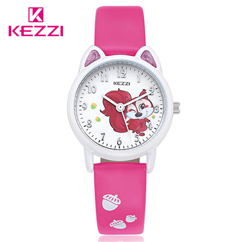 Kezzi top brand kids children boys girls watch cute cartoon squirrel quartz analog leather strap for Watches brands for girl